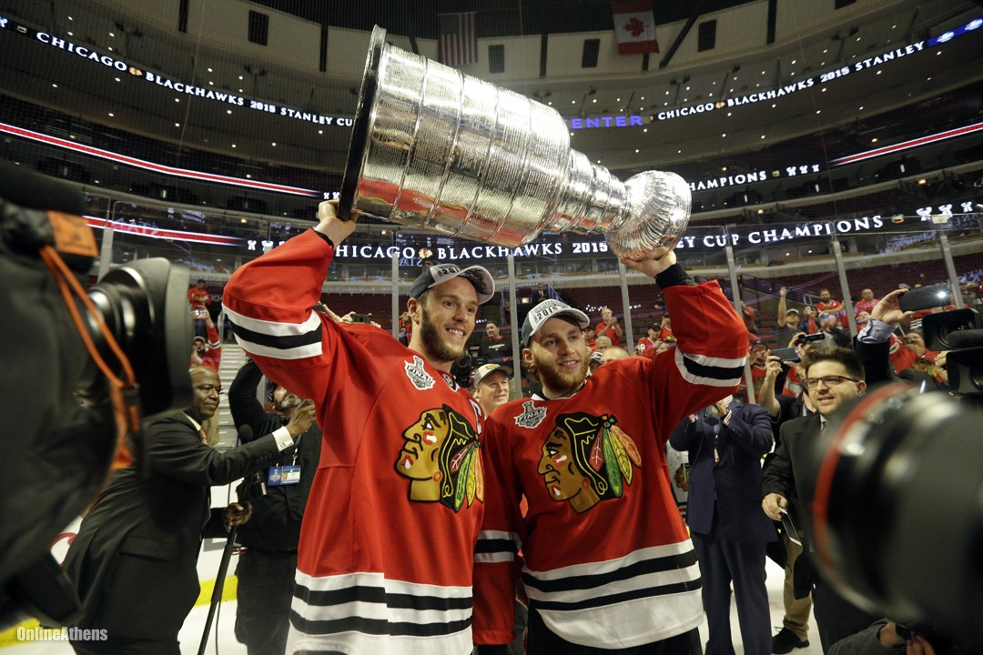 Kane and Toews with Stanley Cup