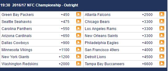 NFC Odds - Sports Interaction