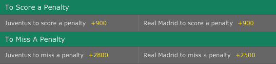 Champions League Final - To Score/Miss A Penalty Odds