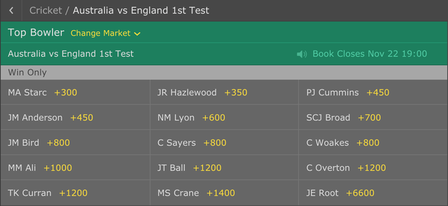 Ashes Betting Lines - Top Bowler