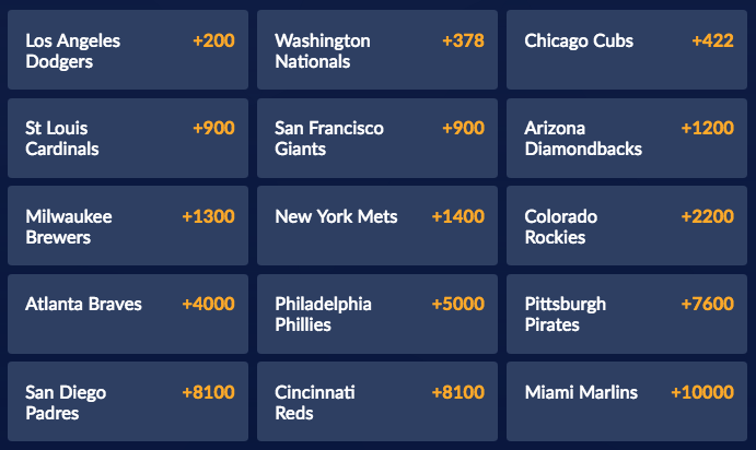 MLB 2018 National League Championship Odds